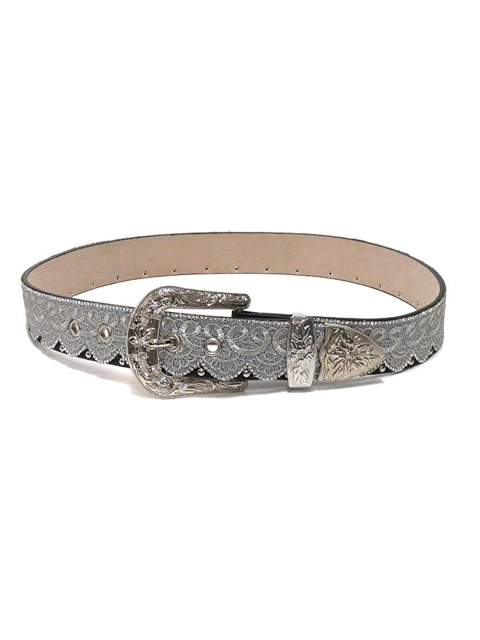 Angel Ranch Womens Crystal Studs Laced Fashion Belt DA3658 Dark Brown Front