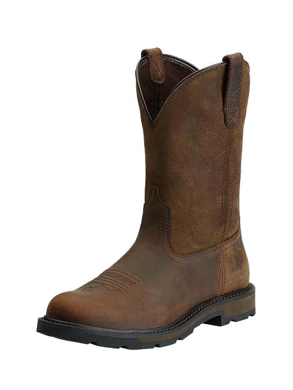 Ariat 10014238 Mens Groundbreaker Pull-On Work Boots Brown