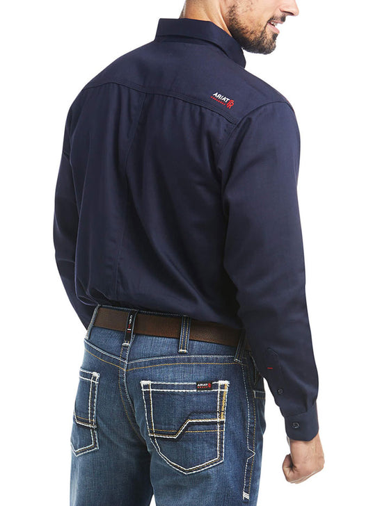 Ariat 10018816 Mens Flame Resistant Solid Work Shirt Navy back view