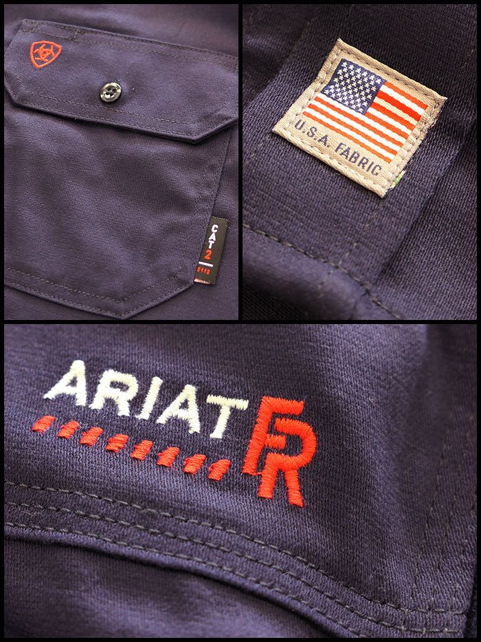 Ariat 10018816 Mens Flame Resistant Solid Work Shirt Navy Front View with a man