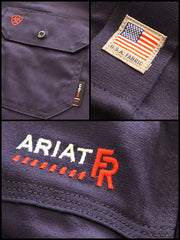 Ariat 10018816 Mens Flame Resistant Solid Work Shirt Navy USA Fabric