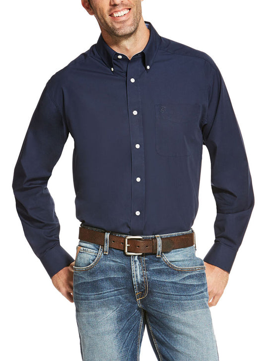 Ariat 10020330 Mens Wrinkle Free Long Sleeve Western Shirt Navy Front