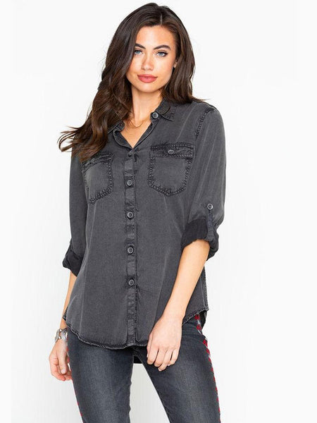 Ariat Womens Faded Black Grey Tabbed Sleeves Utility Shirt 10024159 Front