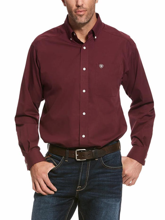 Ariat Mens Maroon Tailgate Solid Classic Long Sleeve Shirts 10028288 at JC Western Wear