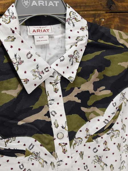 Ariat Womens BUCKAROO Babe Camo Print LS Western Shirt 10028378 Close up