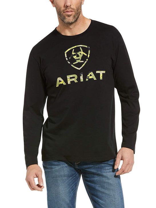 Ariat 10034362 Mens Woodlands Long Sleeve T-Shirt Black