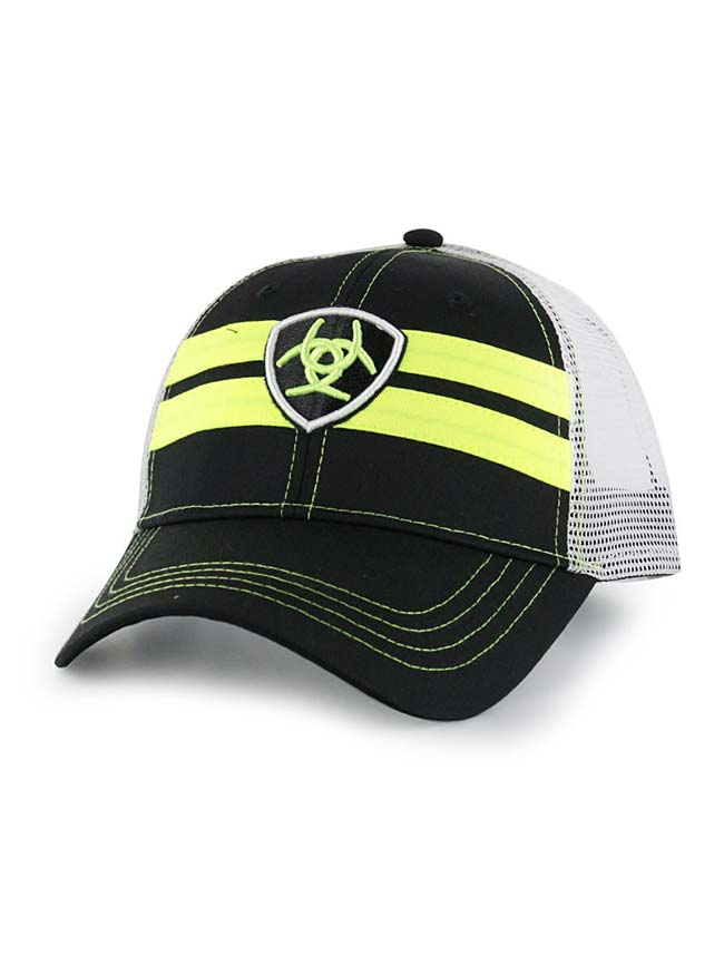 Men's Ariat Black with Neon Yellow Accents Mesh Baseball Cap 1518201 Ariat - J.C. Western® Wear