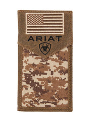Ariat Mens Digital Camo Flag Checkbook Cover Rodeo Wallet A3536444