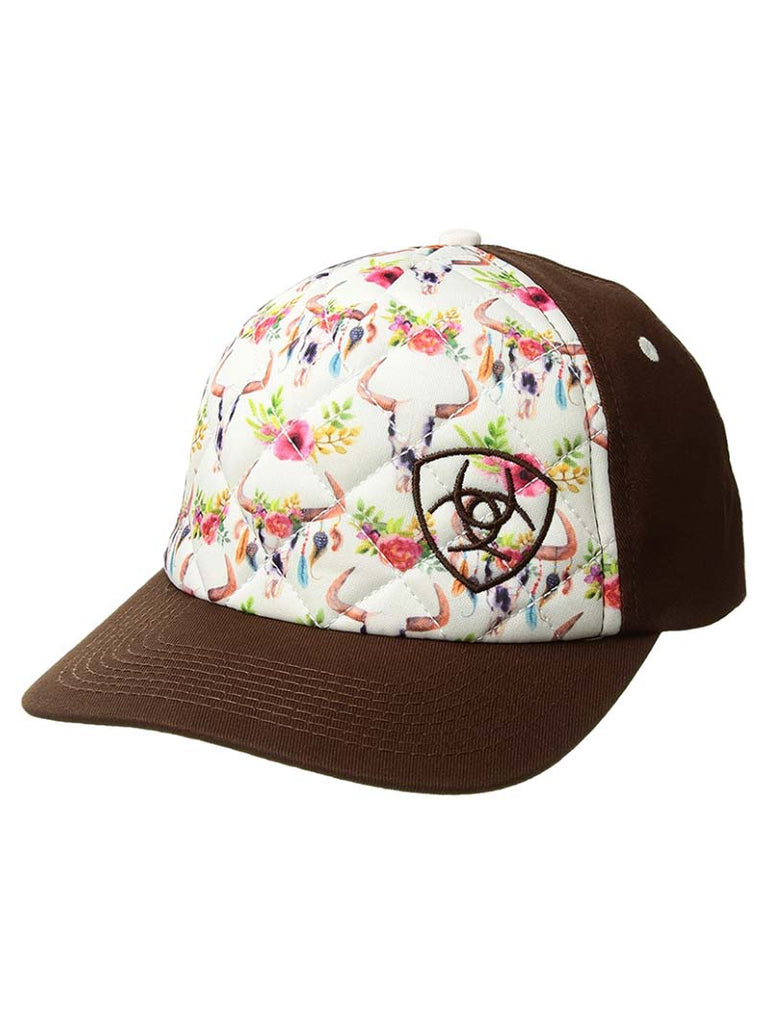 Ariat Womens Quilted Cow Skull Flowers Print Baseball Cap 1505105 ... 88489d8f606