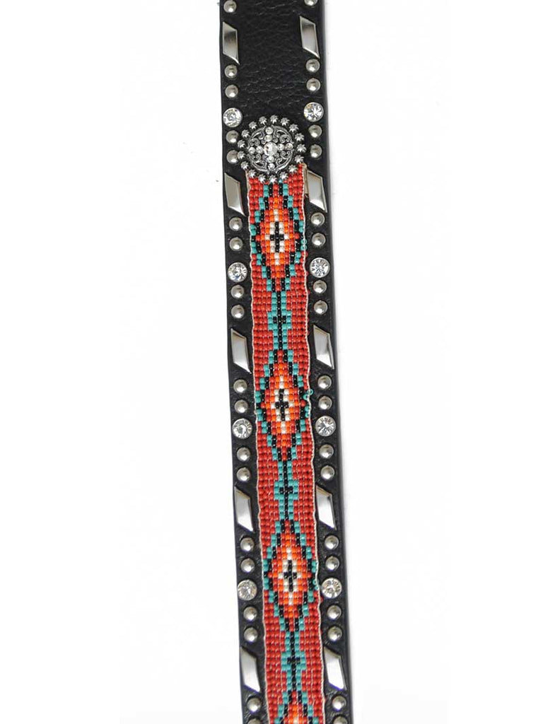 Ariat Womens Beaded Ribbon Inset Brown Western Belt A1515401 Ariat - J.C. Western® Wear