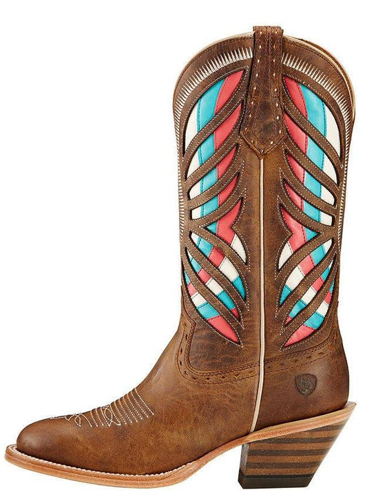 Ariat Womens Gentry Multicolor Inlay Round Toe Western Boot 10017397