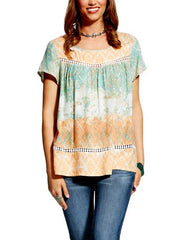 Ariat Womens Multi-Colored Print Nikki Top 10022349 Front VIew