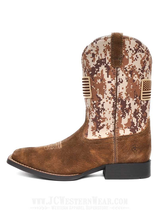 Ariat 10019913 Kids Sport Patriot Camo Boot Antique Mocha Sand