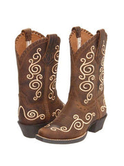 Ariat Kids Shelleen Scrolled Distressed Brown Western Boots 10010256