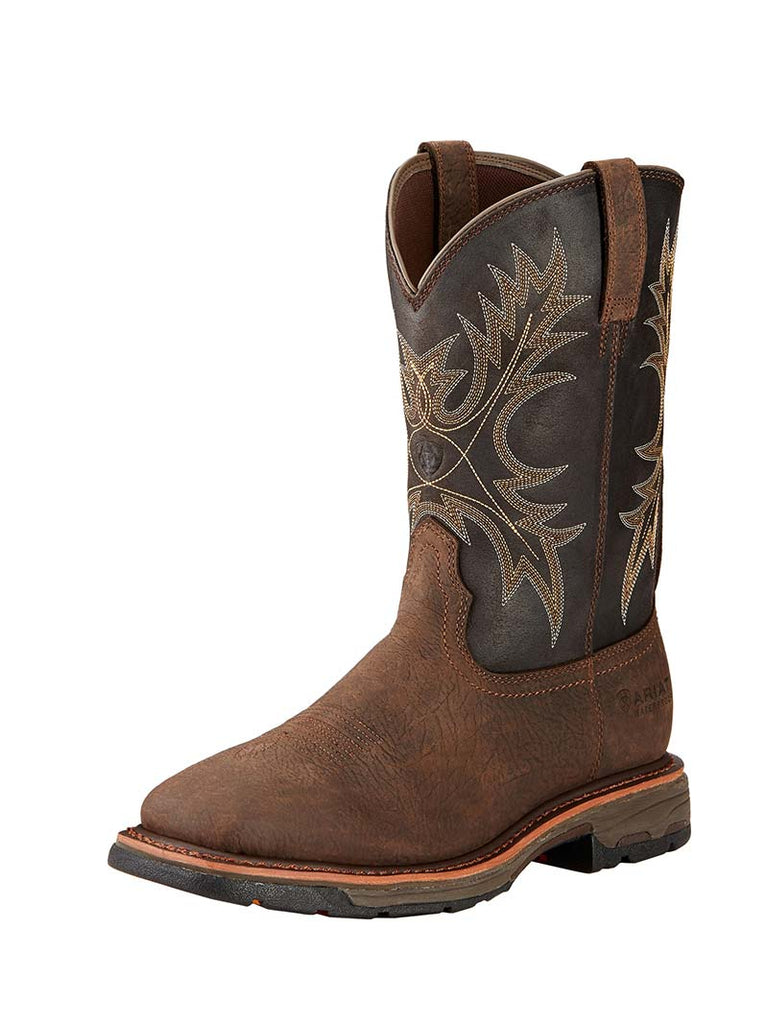 Ariat Mens WorkHog Wide Square Bruin Brown Waterproof Boot 10017436 Ariat - J.C. Western® Wear
