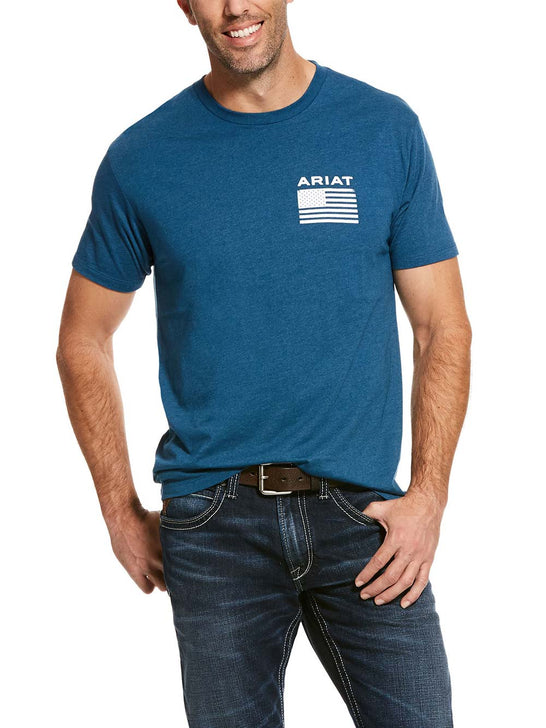 Ariat Mens Freedom Flag Short Sleeve T-Shirt 10028976 Creek Heather