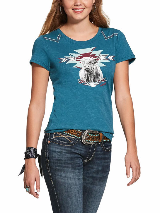 Ariat Womens Highlander Teal Accent Short-Sleeve Graphic Tee 10028248 with a girl