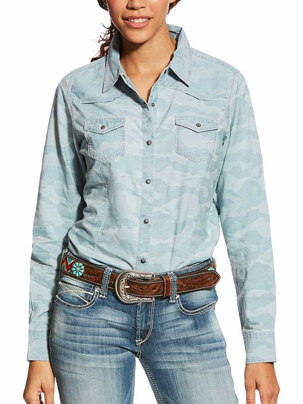 Ariat Real Bold Chambray Blue LS Cowgirl Snap Shirt 10024260