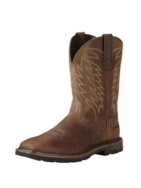 Ariat 10020059 Mens Groundbreaker Wide Square Toe Western Work Boots Brown