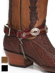 Austin Accent Leather Boot Strap with Conchos Black (BBR-04BK) / Brown (BBR-04BR)