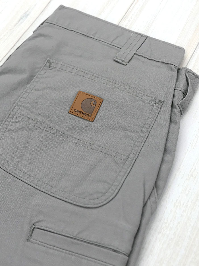 "Carhartt B144 Mens Canvas Cell Phone Work Shorts Asphalt 8.5"" Front in the man"