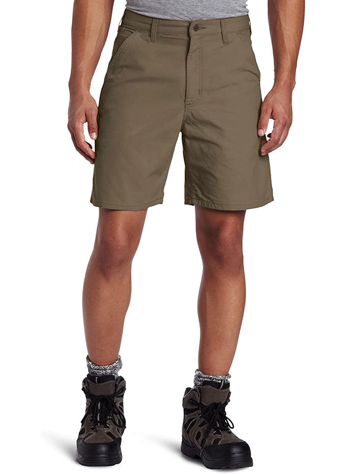"Carhartt B144 Mens Canvas Cell Phone Work Shorts Light Brown 8.5"" Front"