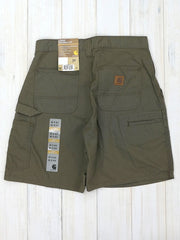 Carhartt B144 Mens Canvas Cell Phone Work Shorts Light Brown back
