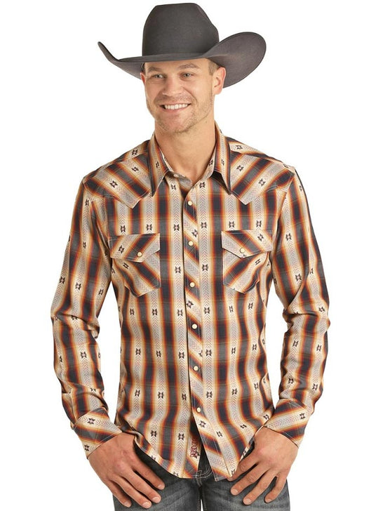 Panhandle B2S3084 Aztec Jacquard Long Sleeve Plaid Snap Shirt Multi Front