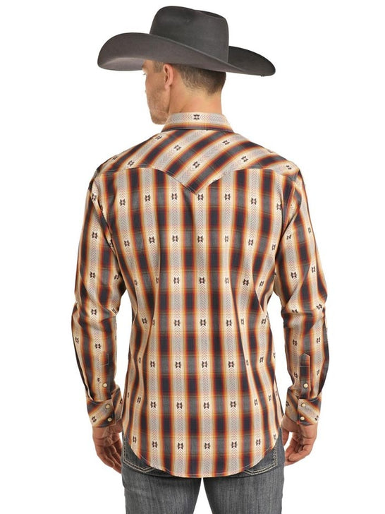 Panhandle B2S3084 Aztec Jacquard Long Sleeve Plaid Snap Shirt Multi Back