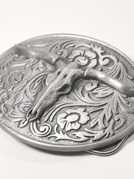 Longhorn Skull on Floral Filigree USA Western Belt Buckle 4746 Great American Product