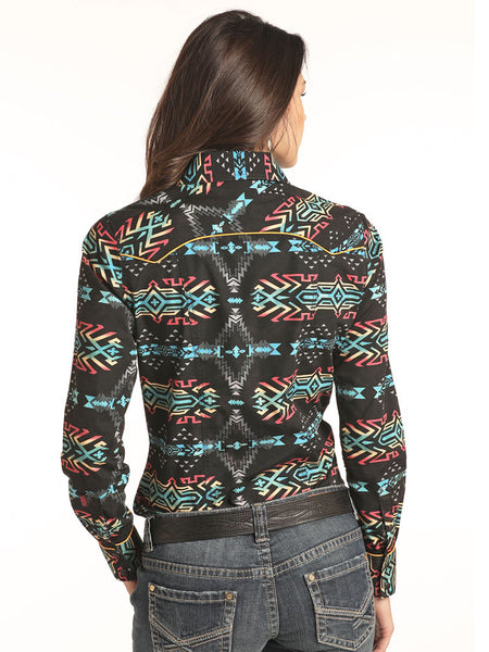 Rock & Roll Cowgirl B4S2304 Aztec Print Long Sleeve Snap Shirt Black back view