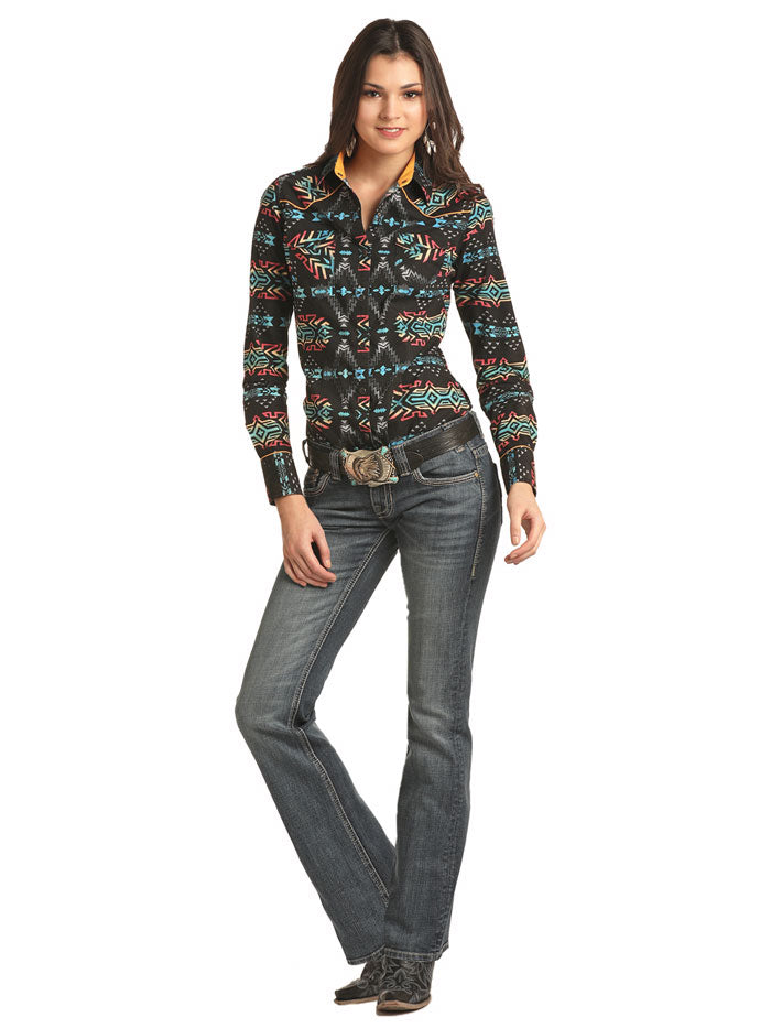 Rock & Roll Cowgirl B4S2304 Aztec Print Long Sleeve Snap Shirt Black A girl smiling with shirt