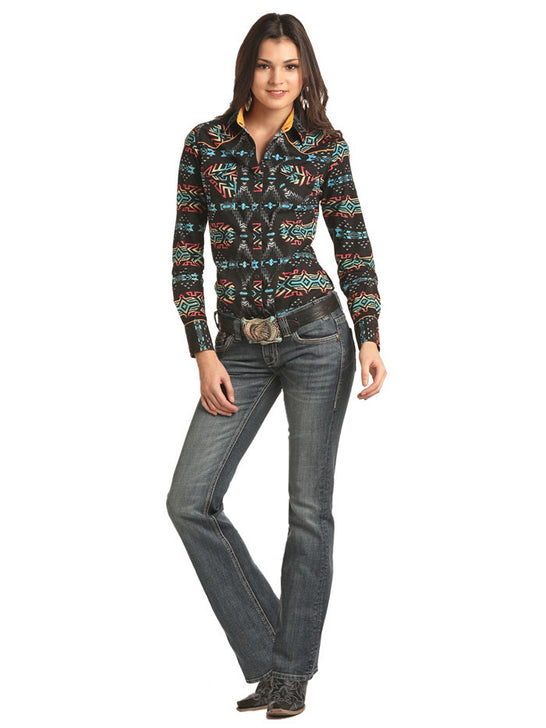 Rock & Roll Cowgirl B4S2304 Aztec Print Long Sleeve Snap Shirt Black a girl with a shirt