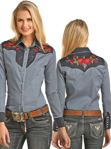 Panhandle B4S3124 Womens Retro Rose Embroidered Snap Shirt Rock & Roll Cowgirl Shirts