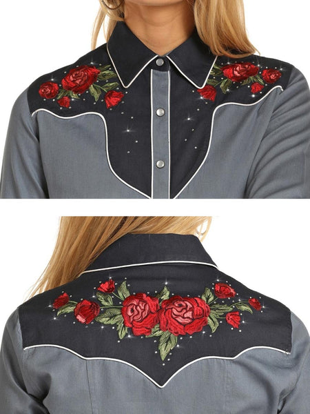 Panhandle B4S3124 Womens Retro Rose Embroidered Snap Shirt Rock & Roll Cowgirl Shirts Front and Back