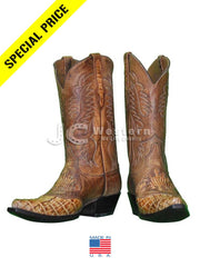 Black Jack Men's Alligator Burnished Tan Cognac Boots 562-53 Jupiter West Palm JC Western Wear
