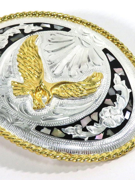 Gold Soaring Eagle Pearl Inlay Oval Western Belt Buckle BK341