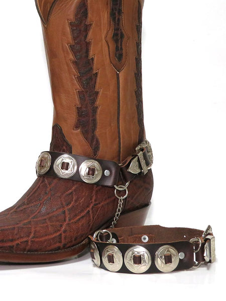 Western Boot Strap Brown Leather with Silver Conchos