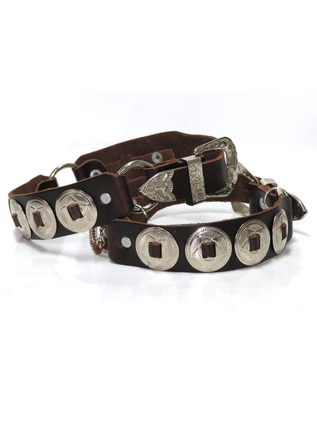 Boot Strap Brown Leather with Silver Conchos BBR05-BRN