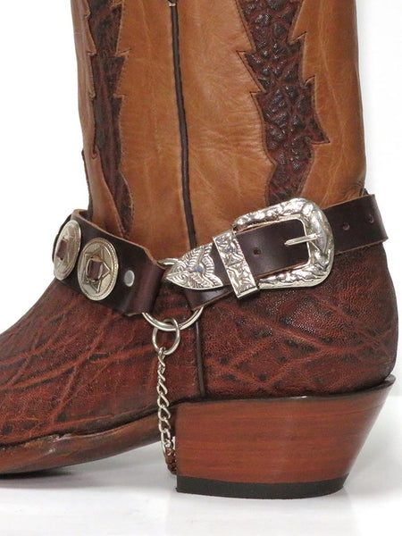 Cowboy Boot Strap Brown Leather with Silver Conchos Cowboy BBR05-BRN