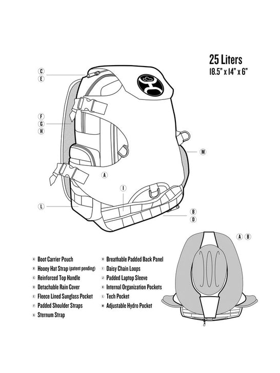 Hooey BP026GY Mule Boot Carrier Hat Strap Performance Backpack Grey Diagram