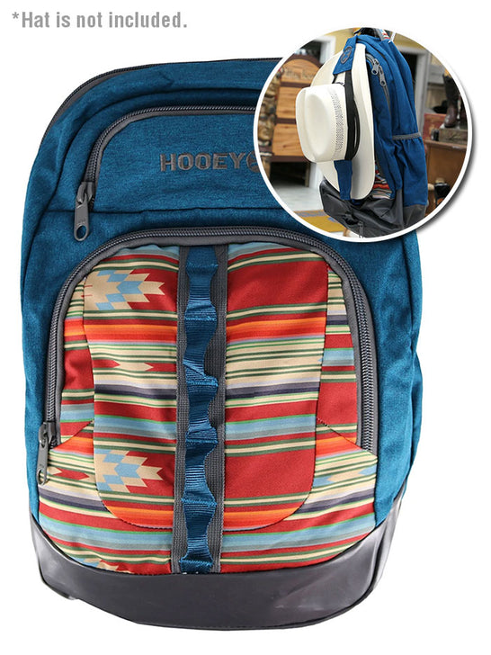 Hooey BP032AZ OZ Aztec Print Hat Strap Performance Backpack Blue with Hat Strap