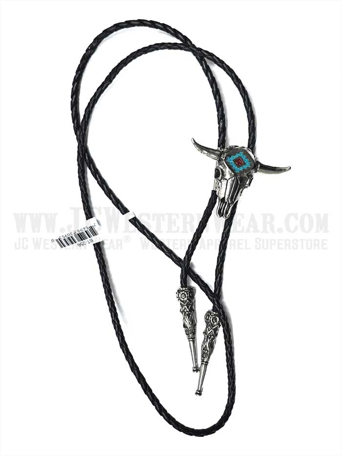 Bolo Tie Steer Skull with Turquoise Inlay BT-256