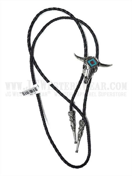 Bolo Tie Steer Skull with Turquoise Inlay BT-256 J.C. Western® Wear - J.C. Western® Wear