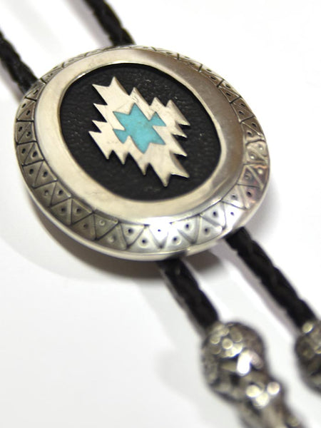 Aztec Antique Silver Classic Bolo Tie BT-257 close up at JC Western