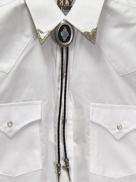 Aztec Antique Silver Classic Bolo Tie BT-257 on display
