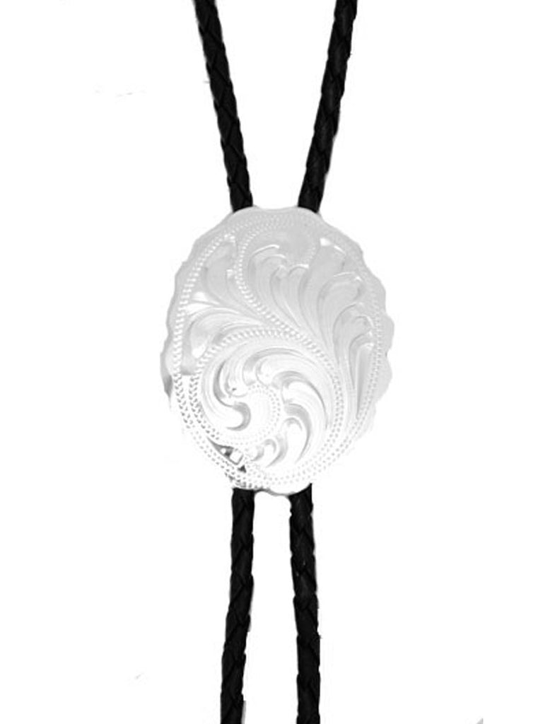 Silver Engraved Bolo Tie BT-528 front