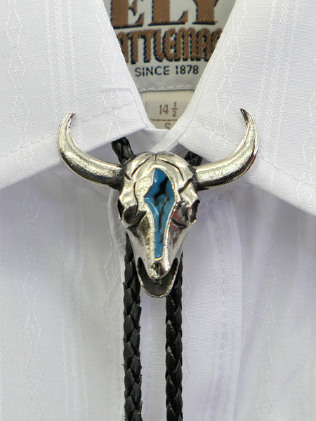 Cow Skull Turquoise Inlay Bolo Tie BT-86 On The Shirt