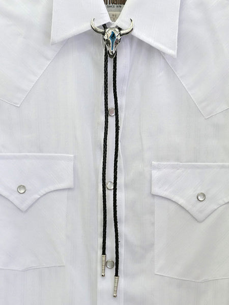 BT-86 Cow Skull Turquoise Inlay Bolo Tie On the shirt Full view