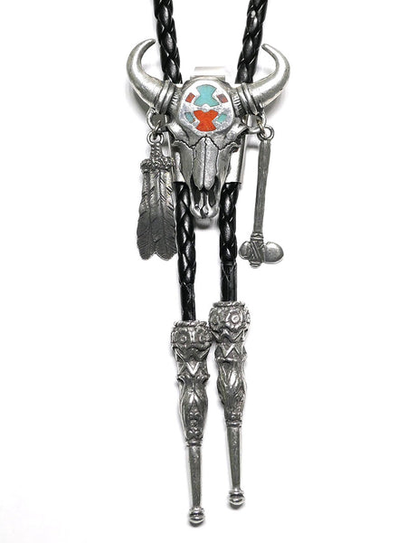 Bolo Tie DBT290 Turquoise Inlay Steer Skull w/ Feather Front